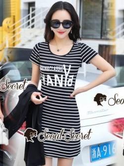 เสื้อผ้าแฟชั่นเกาหลี Seoul Secret Say's... Chic Stripy Fashion&Classic YANYA Dahlia Chill Dress