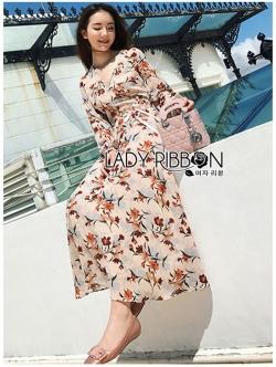 เสื้อผ้าแฟชั่นเกาหลี Lady Ribbon Thailand Lady Ribbon's Made Lady Anne Autumn Flower Printed Chiffon Dress with Flower