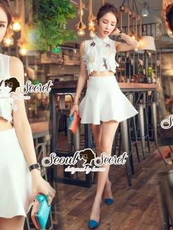 Seoul Secret Say's... Chiffon Lace Cami Shirt Skirt Set