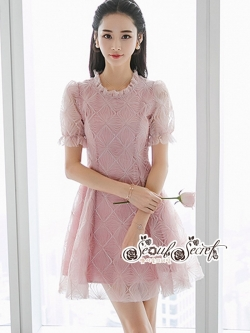 เสื้อผ้าแฟชั่นเกาหลี Lady Ribbon Thailand Seoul Secret Say'...Lady Geometry Lace Sweet Pink Dress Korea Style