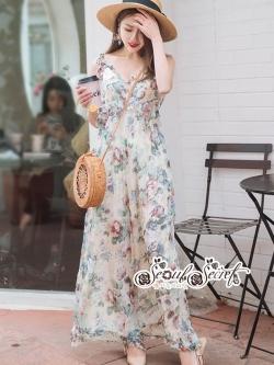 เสื้อผ้าแฟชั่นเกาหลี Lady Ribbon Thailand Seoul Secret Say'...Single Suit Chiffon Floral Print Pastel