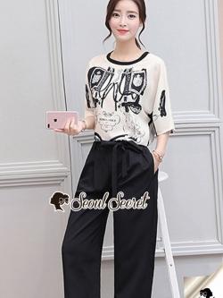เสื้อผ้าแฟชั่นเกาหลี Seoul Secret Say's... Hermes Bridge & Gala Print Set