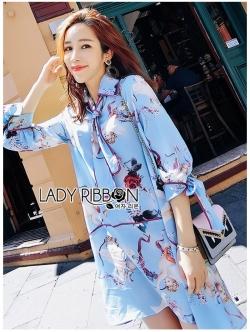 เสื้อผ้าแฟชั่นเกาหลี Lady Ribbon Thailand Lady Ribbon's Made Lady Leslie Vivid Blue Printed Bow Dress
