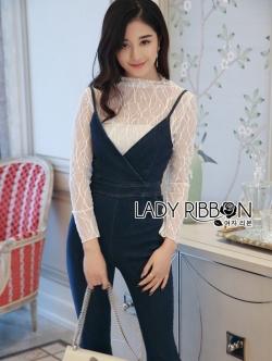 เสื้อผ้าแฟชั่นเกาหลี Lady Ribbon Thailand Lady Ribbon's Made Lady Miranda Feminine Minimal Lace and Denim Jumpsuit