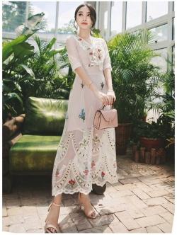 เสื้อผ้าแฟชั่นเกาหลี Lady Ribbon Thailand Lady Marie Fancy Flower Blossom Lace Maxi Dress
