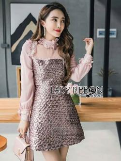 เสื้อผ้าแฟชั่นเกาหลี Lady Ribbon Thailand Lady Ribbon's Made Lady Charlotte Little Mermaid Embroidered Baby Pink Dress