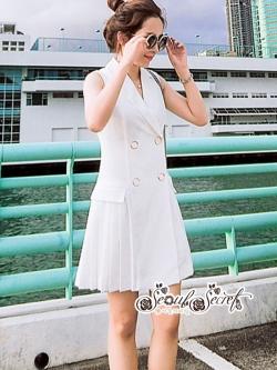 เสื้อผ้าแฟชั่นเกาหลี Lady Ribbon Thailand Seoul Secret Say's...Sleeveless Dress White Behind The Triangle