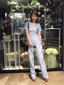 เสื้อผ้าแฟชั่นเกาหลี Lady Ribbon Thailand Normal Ally Present Embroider lace new collection playsuit