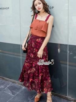 เสื้อผ้าแฟชั่นเกาหลี Lady Ribbon Thailand Korea Design By Lavida Colorful floral printed chic set