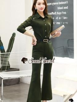 เสื้อผ้าแฟชั่นเกาหลี Seoul Secret Say's...Lacely Gray&Green Shirt Zipper ChicChic Set
