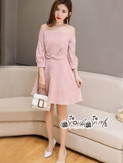เสื้อผ้าแฟชั่นเกาหลี Lady Ribbon Thailand Seoul Secret Say'...Sweet Allure Off-Shoulder Pink Nude Velvet Dress