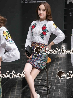 Seoul Secret Say's... Summer Rosy Blossom Furnished Shirt