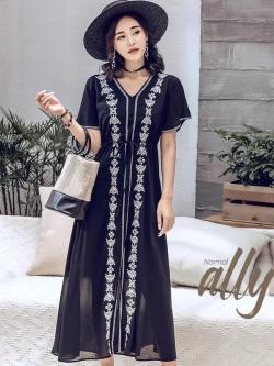 เสื้อผ้าแฟชั่นเกาหลี Lady Ribbon Thailand Normal Ally Present Embroider Bohemian maxi dress