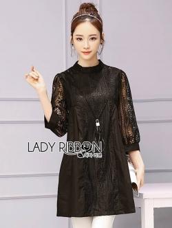 เสื้อผ้าแฟชั่นเกาหลี Lady Ribbon Thailand Lady Ribbon's Made Lady Meghan Lace and Cotton Black Mini Dress