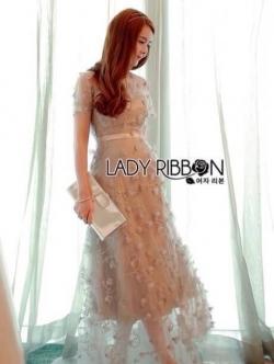 เสื้อผ้าแฟชั่นเกาหลี Lady Ribbon Thailand Lady Ribbon's Made Lady Sabina Fairy Tale Floral Embroidered Tulle Cocktail Dress ค็