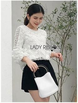 เสื้อผ้าแฟชั่นเกาหลี Lady Ribbon Thailand Lady Ribbon's Made Lady Katherina Vintage Chic Flower Lace Blouse