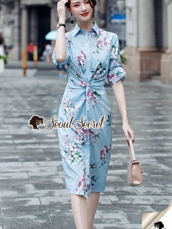 Seoul Secret Say's... Stripe Pattern Waist Ivory Floral Print Shirt Dress