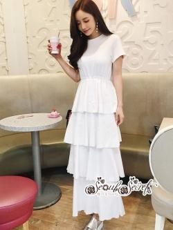 เสื้อผ้าแฟชั่นเกาหลี Lady Ribbon Thailand Seoul Secret Say's...Maxi Dress Layers Gray & White Chic Chic