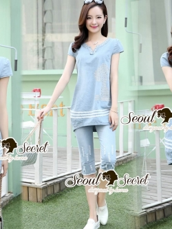 Seoul Secret Say's... Snoopy Chic Denim Set