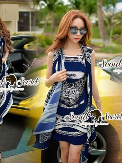 Seoul Secret Say's... Versace Outer Naay Print Dress