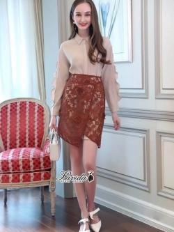 เสื้อผ้าแฟชั่นเกาหลี Lady Ribbon Thailand Korea Design By Lavida Creamy shirt collar lace skirt set code8193