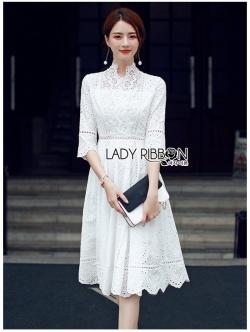 เสื้อผ้าแฟชั่นเกาหลี Lady Ribbon Thailand Lady Ribbon's Made Lady Maleeya Laser-Cut and Embroidered White Cotton
