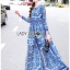 เสื้อผ้าแฟชั่นเกาหลี Lady Ribbon Thailand Lady Ribbon's Made Lady Yves Italian Dream Blue & White Printed Maxi Dress thumbnail 2
