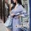 เสื้อผ้าแฟชั่นเกาหลี Lady Ribbon Thailand Seoul Secret Say'...Stripe Dress Shirt Blue Chic With White Collar thumbnail 2