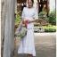 เสื้อผ้าแฟชั่นเกาหลี Lady Ribbon Thailand Lady Clemence Ruffle Embroidered White Cotton Dress thumbnail 3