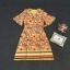 เสื้อผ้าแฟชั่นเกาหลี Lady Ribbon Thailand Korea Design By Lavida Colorful floral printing v neck dress thumbnail 8
