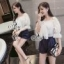 เสื้อผ้าแฟชั่นเกาหลี Sevy Off Shoulder Organza Ribbon Bust Strips Shorts Playsui thumbnail 2