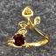 แหวนพลอยโกเมน ประดับบุษราคัม ตัวเรือนทองแท้ thumbnail 1