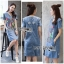 เสื้อผ้าแฟชั่นเกาหลี Lady Ribbon Thailand's Made Lady Glam Gloria Fun Printed Denim Dress thumbnail 2