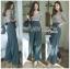 เสื้อผ้าแฟชั่นเกาหลี Lady Ribbon Thailand's Made Lady Eva Smart Casual Printed Top and Black Trousers Set thumbnail 3