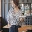 Seoul Secret Say's... Navy Daisy Perforate Blouse thumbnail 5