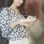 Seoul Secret Say's... Navy Daisy Perforate Blouse thumbnail 6