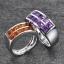 แหวนคู่รักสลักชื่อ ฝังพลอยแท้ ตัวเรือนทองคำขาวแท้ สามารถเลือกพลอยได้ thumbnail 2