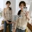 เสื้อผ้าแฟชั่นเกาหลี Lady Ribbon Thailand's Made Lady Nana Button-Down Cream Lace Blouse thumbnail 4