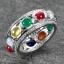 แหวนพลอยนพเก้าแท้รอบวง แหวนเงินแท้ 925 ชุบทองคำขาว thumbnail 1
