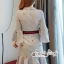 เสื้อผ้าแฟชั่นเกาหลี Lady Ribbon Thailand Seoul Secret Say'...T-Shirt Strip Fluted Embroidery Fabric Lace Dress thumbnail 3