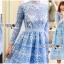เสื้อผ้าแฟชั่นเกาหลี Lady Ribbon Thailand Lady Ribbon's Made Lady Eva Modern Feminine Lace Midi Dress thumbnail 2