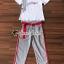 เสื้อผ้าแฟชั่นเกาหลี Seoul Secret Say's...Lace Gray Printed Stripes Shirt Set thumbnail 1