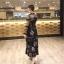 เสื้อผ้าแฟชั่นเกาหลี Lady Ribbon Thailand Normal Ally Present M.R.H Lilly silk chiffon printed dress thumbnail 3