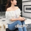 เสื้อผ้าแฟชั่นเกาหลี Lady Ribbon Thailand Seoul Secret Say'...White Open Shoulder Waist Lycra Lace T-Shirt thumbnail 2
