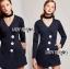 เสื้อผ้าแฟชั่นเกาหลี Lady Ribbon's Made Jenine Modern Masculine Chic Button Down Black Silk playsuit thumbnail 4