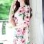 เสื้อผ้าแฟชั่นเกาหลี Lady Ribbon Thailand Seoul Secret Say'...Crepe Dress Pink Rose Print Vintage Style thumbnail 2