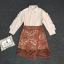 เสื้อผ้าแฟชั่นเกาหลี Lady Ribbon Thailand Korea Design By Lavida Creamy shirt collar lace skirt set code8193 thumbnail 4