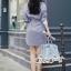 เสื้อผ้าแฟชั่นเกาหลี Lady Ribbon Thailand Seoul Secret Say'...Stripe Dress Shirt Blue Chic With White Collar thumbnail 3