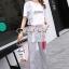 เสื้อผ้าแฟชั่นเกาหลี Seoul Secret Say's...Lace Gray Printed Stripes Shirt Set thumbnail 4