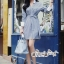 เสื้อผ้าแฟชั่นเกาหลี Lady Ribbon Thailand Seoul Secret Say'...Stripe Dress Shirt Blue Chic With White Collar thumbnail 1